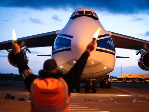The world's largest cargo plane has left Belfast flying three 18-tonne oxygen generators and 1,000 ventilators as part of the UK's response to India's Covid-19 crisis (Kelvin Boyes/Press Eye/PA)