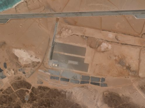 A mysterious air base is seen being built on Yemen's volcanic Mayun Island in this April 11, 2021 satellite photograph from Planet Labs Inc (Planet Labs Inc. via AP)