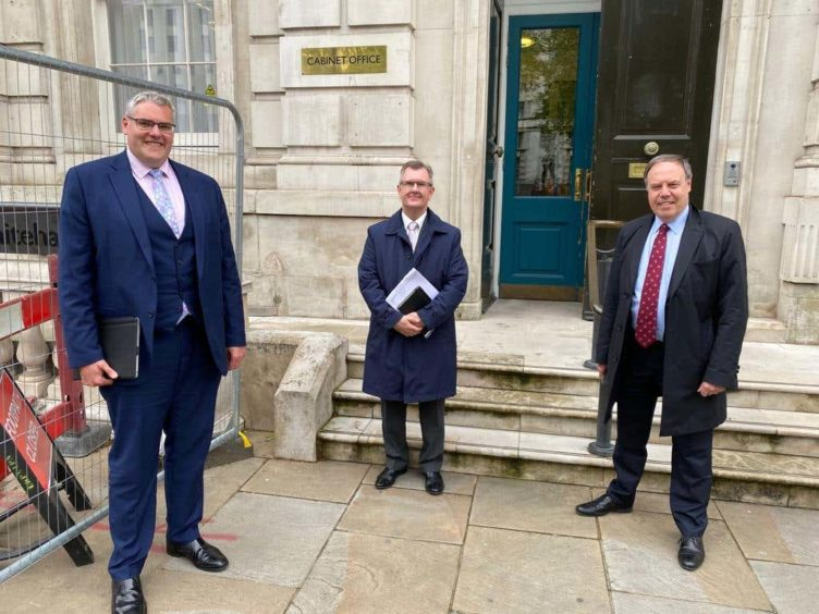 DUP MPs Gavin Robinson and Sir Jeffrey Donaldson and Lord Dodds met Lord Frost on Tuesday (DUP/PA)