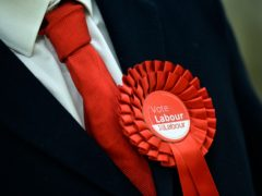 A Labour Party supporter wears a rosette (Hannah McKay/PA)