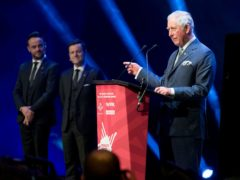 The Prince of Wales with hosts Ant and Dec at the Prince's Trust Awards at the London Palladium (Geoff Pugh/The Daily Telegraph/PA)