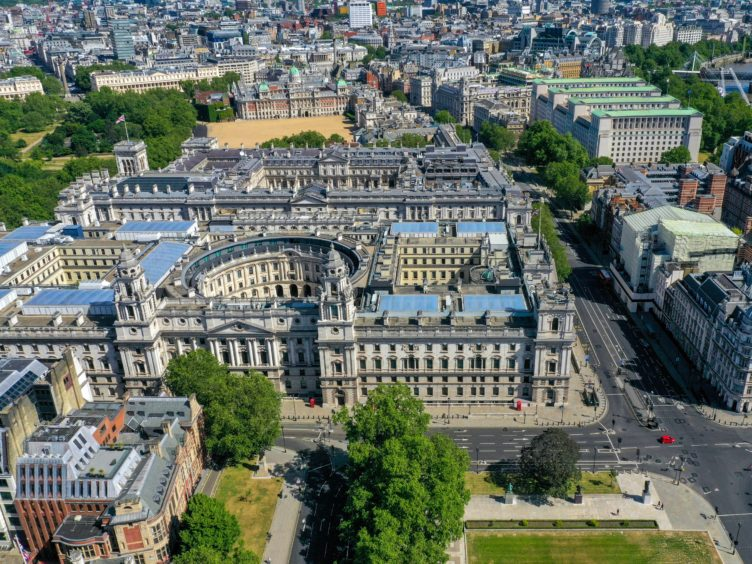 An aerial view of London including the Treasury, the Department for Digital, Culture, Media and Sport, HMRC, the Foreign and Commonwealth Office, Downing Street, the Cabinet Office and Horseguards Parade (Steve Parsons/PA Images)