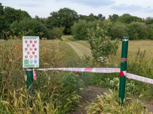 A police cordon at an entrance to Fryent Country Park, in Wembley (PA)