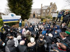 People protested outside Batley Grammar School over the incident (Danny Lawson/PA)