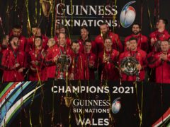 Wales celebrate their victory in the 2021 Six Nations (Ben Evans/PA).