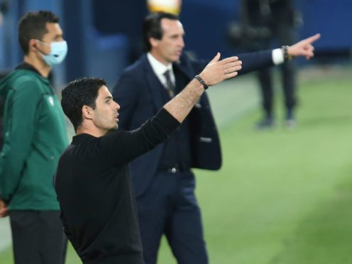 Arsenal's manager Mikel Arteta saw his side lose the first leg of their Europa League semi-final against Villarreal (Alberto Saiz/AP)