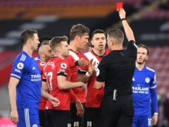 Southampton defender Jannik Vestergaard (centre) was sent off against Leicester – but his red card was overturned on appeal (Neil Hall/PA)