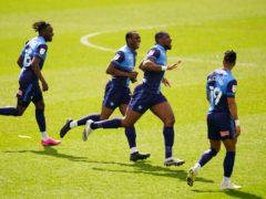 Wycombe celebrate Uche Ikpeazu's goal (Adam Davy/PA)