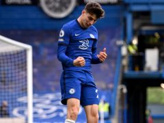Kai Havertz, pictured, celebrates his second goal in Chelsea's 2-0 win over Fulham (Justin Setterfield/PA)