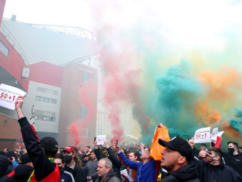 United fans protested outside and some broke into the stadium (Barrington Coombs/PA)