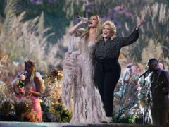Jennifer Lopez performs with her mother, Guadalupe Rodriguez, at Vax Live: The Concert To Reunite The World at SoFi Stadium in Inglewood, California (Jordan Strauss/Invision/AP)