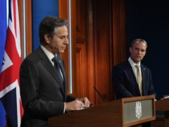 US Secretary of State Antony Blinken and Foreign Secretary Dominic Raab (Chris J Ratcliffe/PA)