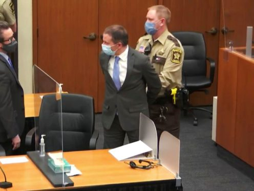 In this April 20, 2021 file image from video, former Minneapolis police Officer Derek Chauvin is taken into custody as his attorney, Eric Nelson, left, looks on (Court TV via AP/ Pool)