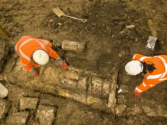 Archaeologists at work on the site of St Mary's Church which lies in the path of the HS2 line (HS2 Ltd/PA)