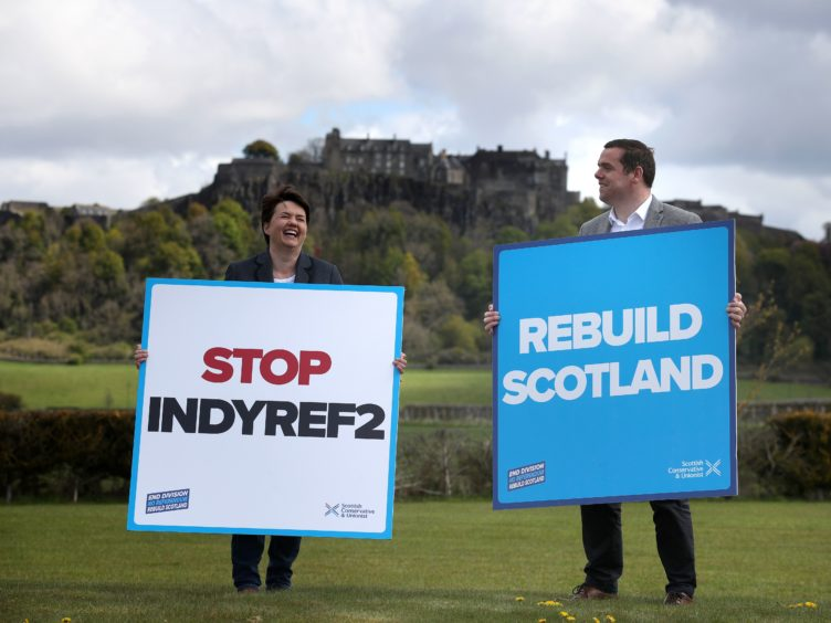 Scottish Conservative leader Douglas Ross and Ruth Davidson campaign against indyref2 (Andrew Milligan/PA)