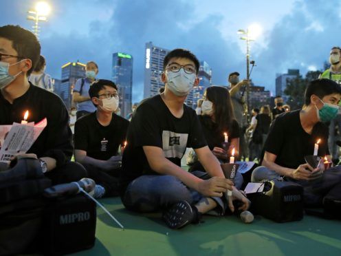 Joshua Wong, centre (AP Photo/Kin Cheung)
