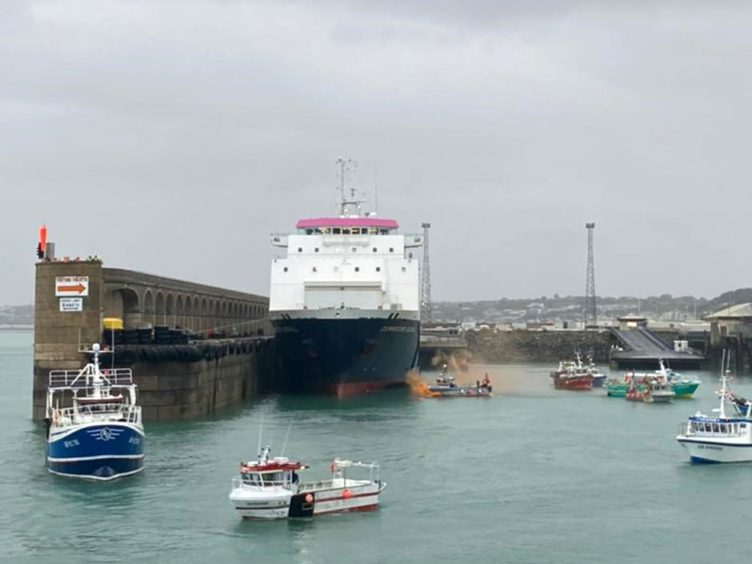 French fishing boats protesting off St Helier, Jersey (Josh Dearing/PA)