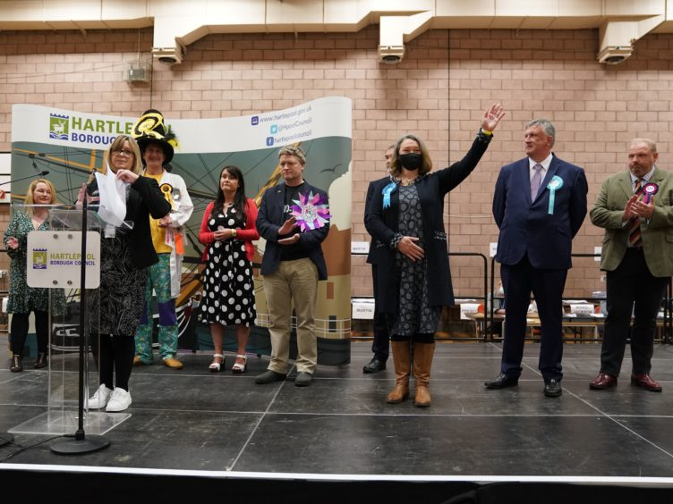 Conservative's Jill Mortimer is declared winner in the Hartlepool by-election (Owen Humphreys/PA)