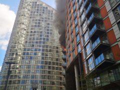 The blaze has engulfed several floors of the New Providence Wharf block (Athina Fokidou/PA)