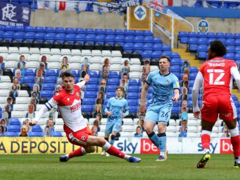 Jordan Shipley scores for Coventry (Barrington Coombs/PA)