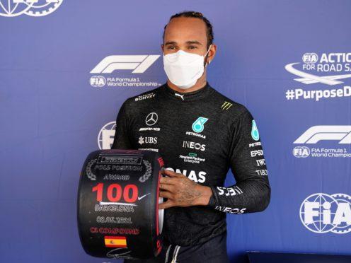 Lewis Hamilton claimed the 100th pole position of his career at Barcelona (Emilio Morenatti/AP)