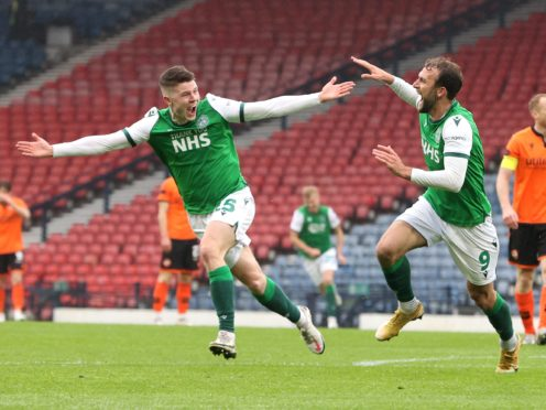 Hibernian's Christian Doidge (right) and Kevin Nisbet have both been on target along their run to Hampden (Jeff Holmes/PA)
