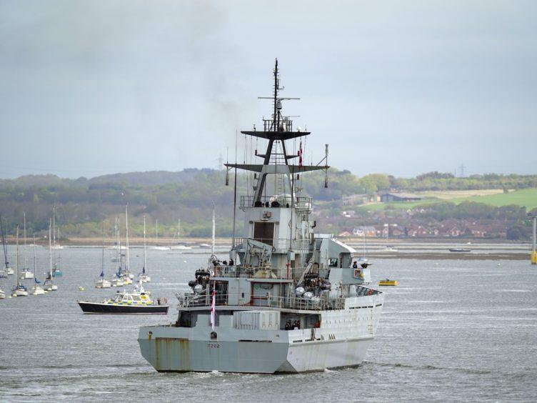 Royal Navy patrol ship HMS Severn returns to Portsmouth Naval Base from Jersey (Steve Parsons/PA)