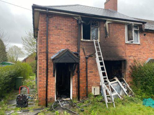 The scene in Beacon Lane, Sedgley (West Midlands Fire Service/PA)