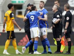 Neal Maupay (centre) was sent off after the final whistle against Wolves (Tim Keeton/PA)