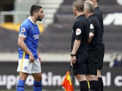 Neal Maupay, left, lost his temper with referee Jon Moss following Brighton's recent loss at Wolves (Tim Keeton/PA)