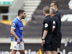 Neal Maupay was sent off following his reaction to Brighton's loss at Wolves. (Tim Keeton/PA)