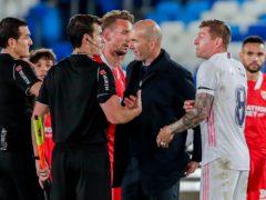 Zinedine Zidane was unhappy with the referee (Manu Fernandez/AP)