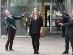 New Green MSPs Lorna Slater (left) and Gillian Mackay (centre) with party co-leader Patrick Harvie (Jane Barlow/PA)
