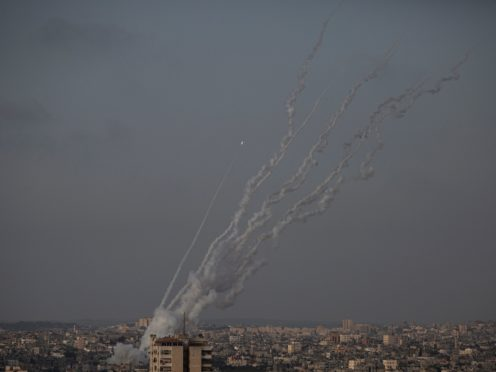 Rockets are launched from the Gaza Strip towards Israel (Khalil Hamra/AP)