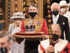 The Queen with her son and heir the Prince of Wales process behind the Imperial State Crown (Richard Pohle/The Times/PA)