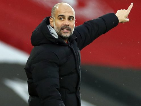Pep Guardiola has celebrated his third Premier League title with Manchester City after signing a new contract in November (Paul Childs/PA)