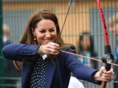 The Duchess of Cambridge at an archery session during a visit to The Way Youth Zone in Wolverhampton, West Midlands (Jacob King/PA)