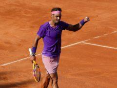 Rafael Nadal celebrates his epic victory over Denis Shapovalov (Alessandra Tarantino/AP)