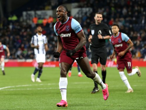 Michail Antonio celebrates his goal in the win at West Brom. (Molly Darlington/PA)
