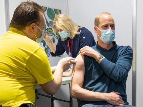 The Duke of Cambridge receiving the coronavirus vaccine (Kensington Palace/Twitter/PA)