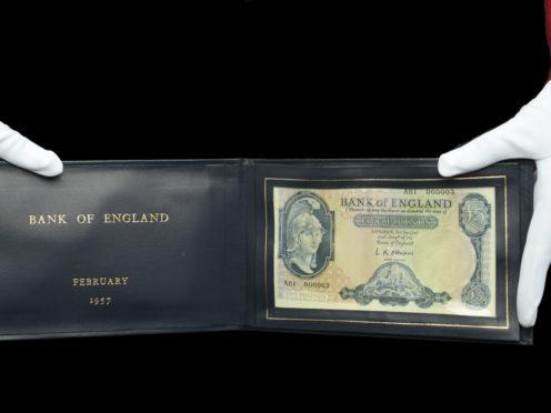 The £5 banknote was originally presented to former prime minister Harold Macmillan in 1957 (Dix Noonan Webb/PA)
