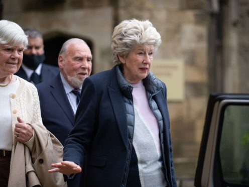 Lady Lavinia Nourse leaves the Knights' Chamber in Peterborough after being cleared of all charges (Joe Giddens/PA)