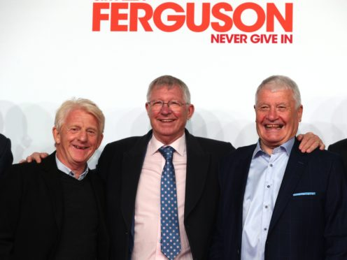 Sir Alex Ferguson (centre), Gordon Strachan (left) and Archie Knox attend the premiere (Peter Byrne/PA).