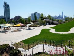 Little Island, a new public park featuring winding paths, staircases and views of New York City and the Hudson River (Kathy Willens/AP)