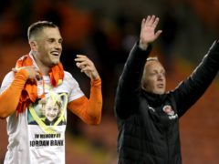 Blackpool's Jerry Yates (left) and manager Neil Critchley celebrate victory (Richard Sellers/PA)