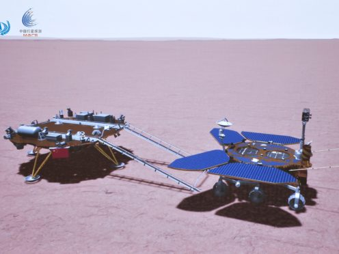 China's Zhurong rover is depicted on the surface of Mars (CNSA/AP)