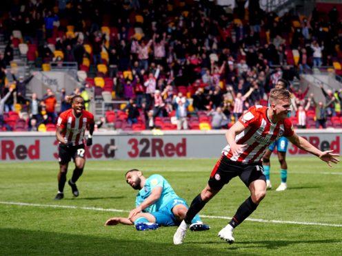 Marcus Forss celebrates scoring Brentford's winner (John Walton/PA)