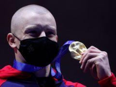 Adam Peaty won his third gold of the week (AP Photo/Petr David Josek)