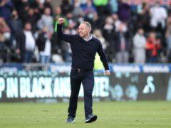 Swansea head coach Steve Cooper celebrates play-off victory over Barnsley (Nick Potts/PA)