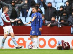 Chelsea's Cesar Azpilicueta (right) clashed with Jack Grealish (right) during the closing stages at Villa Park (PA)